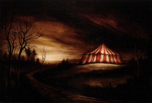 EdwardWaltonWilcox-Circus_in_the_Field-2009_bitumen_on_panel_24x36in.