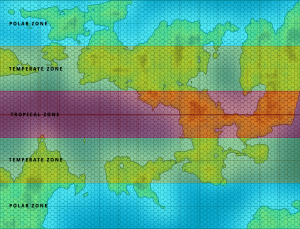 WORLD MAP WITH TEMPERATURE ZONES